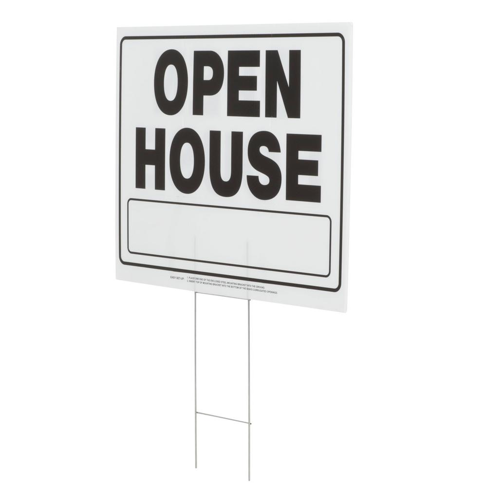 Everbilt 20 in. x 24 in. Corrugated Plastic Open House Sign