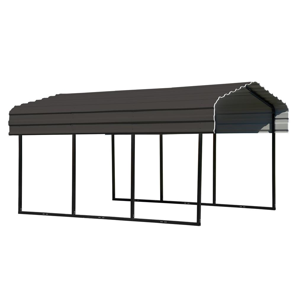 new product 98985 6a2c3 Arrow 10 ft. W x 15 ft. D Charcoal Galvanized Steel Carport , Car Canopy  and Shelter