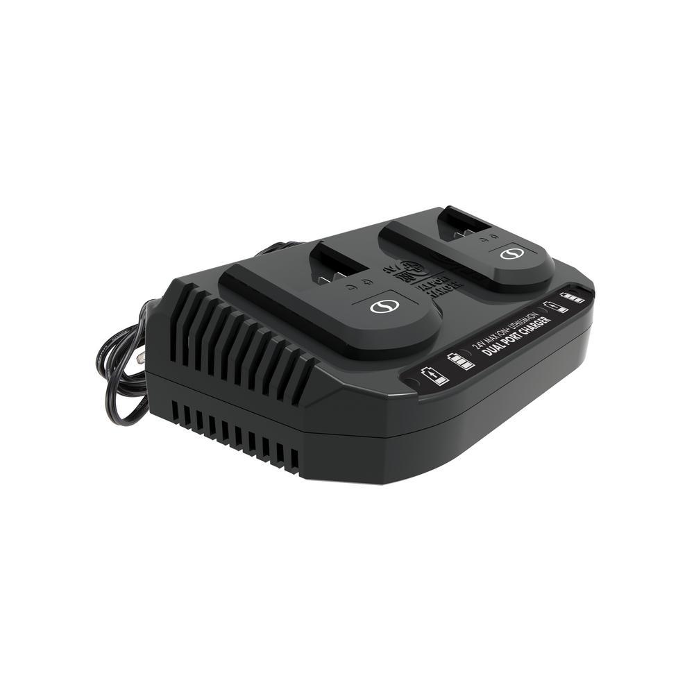 Snow Joe 24-Volt Dual Port Quick Charge Docking Station for iBAT24 and 24-Volt BAT Series Batteries
