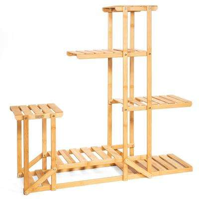 40 in. x 10 in. x 38 in. Multi-Tier Bamboo Wood Shelf Rack Outdoor Plant Stand