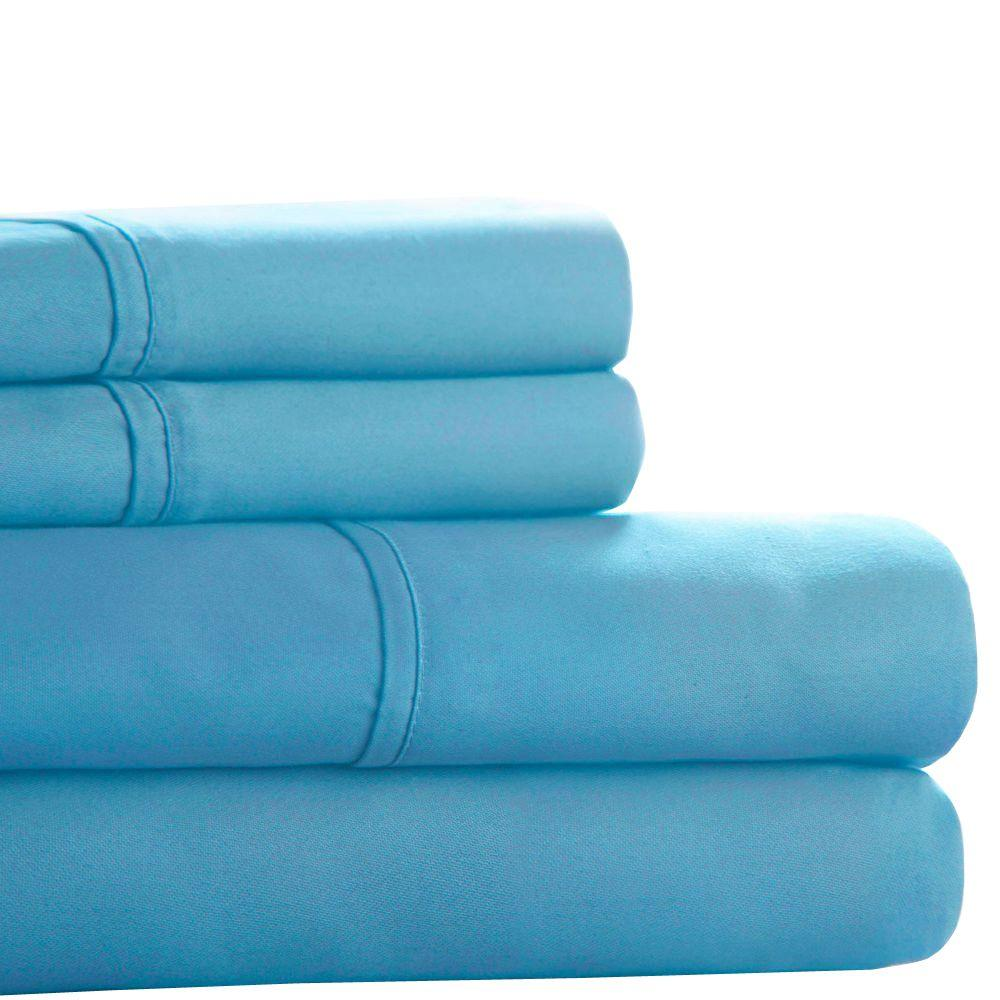 Lavish Home Blue 300 Count Egyptian Cotton Queen Sheet Set (4-Piece)