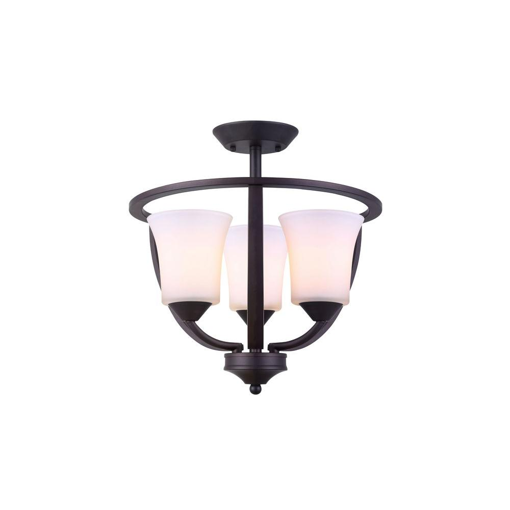 Austin 3-Light Oil Rubbed Bronze Semi Flush Mount with Flat Opal
