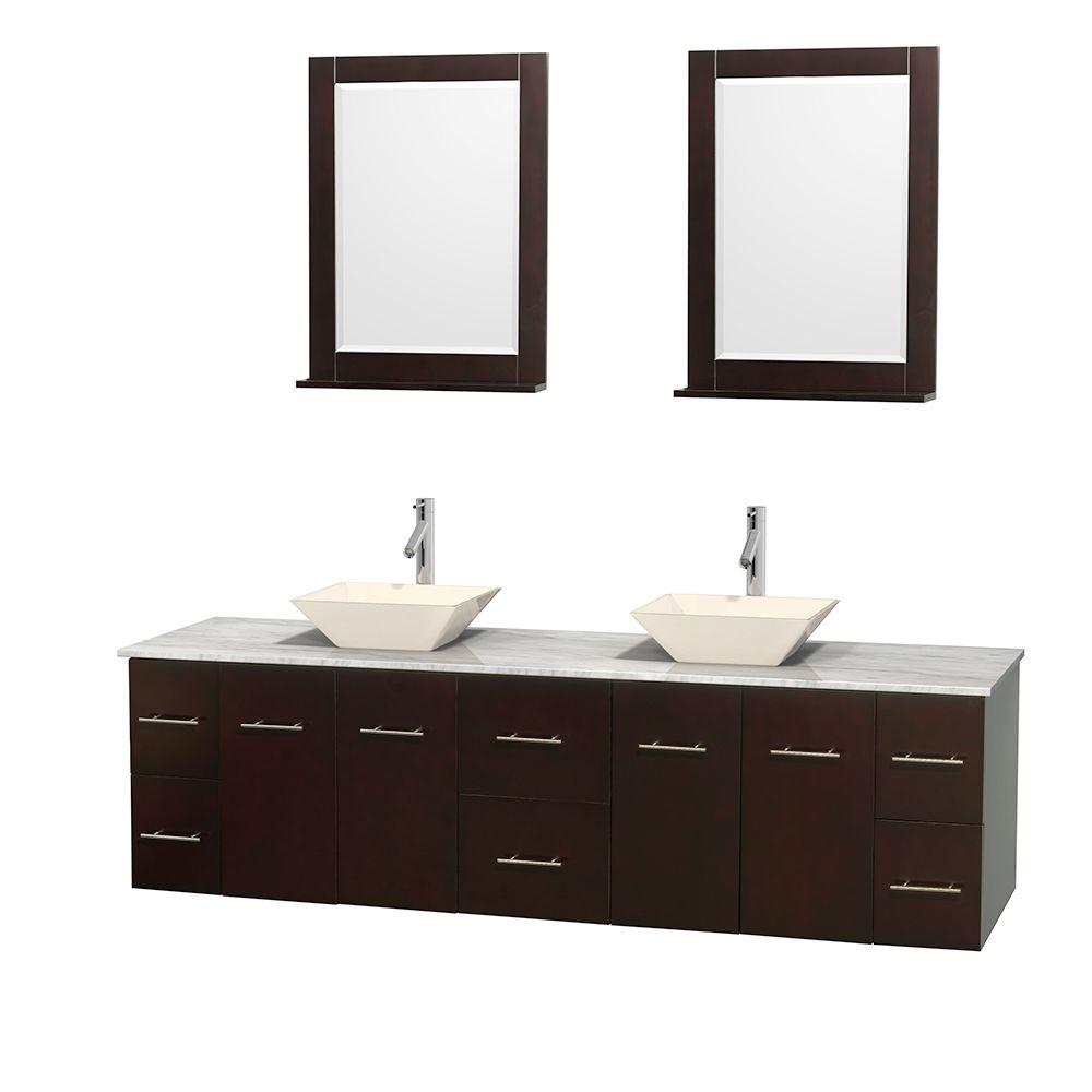 Wyndham Collection Centra 80 in. Double Vanity in Espresso with Marble Vanity Top in Carrara White, Bone Porcelain Sinks and 24 in. Mirror