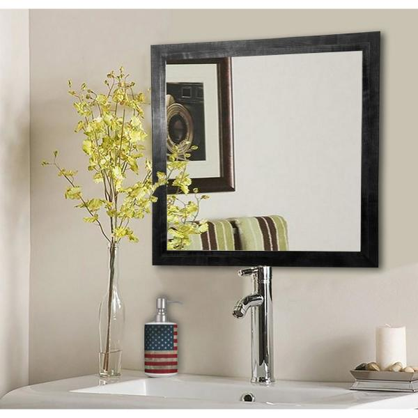 16 in. W x 16 in. H Framed Square Bathroom Vanity Mirror in Black
