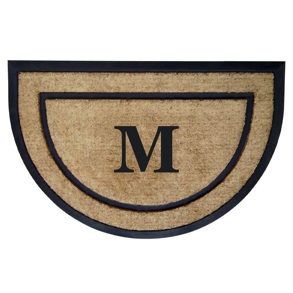 Nedia Home DirtBuster Single Picture Frame Black 24 in. x 36 in. Coir with Rubber Border Monogrammed M Door Mat