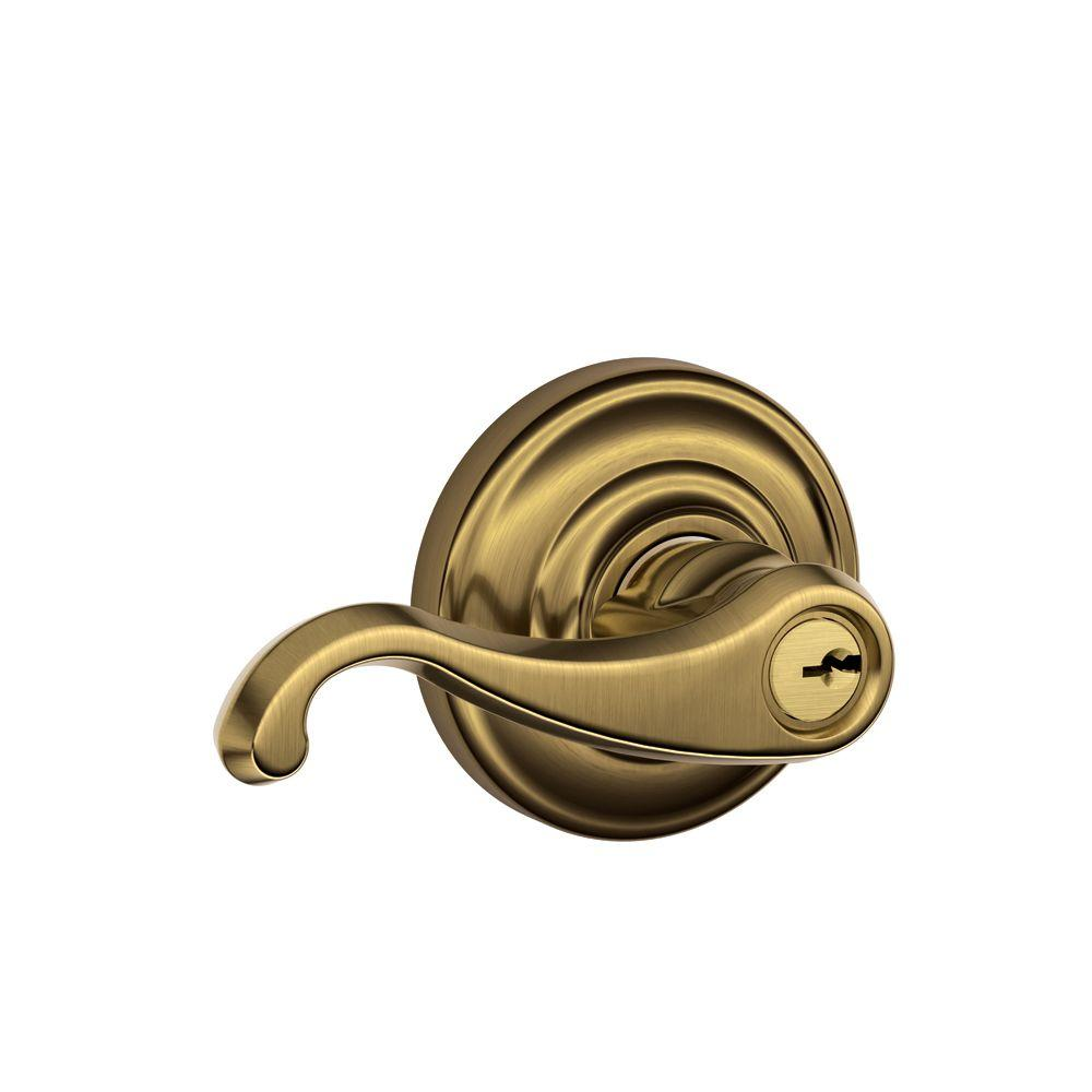 Schlage Andover Collection Antique Brass Callington Keyed Entry Lever