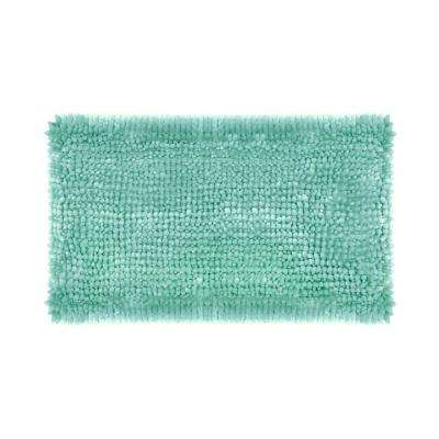 Butter Chenille 27 in. x 45 in. Bath Mat in Aqua
