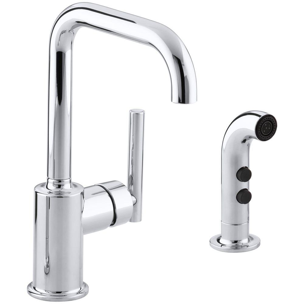 Kohler Purist Single Handle Standard Kitchen Faucet With Side Sprayer In Polished Chrome