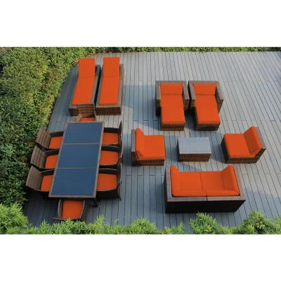 Mixed Brown 20-Piece Wicker Patio Combo Conversation Set with Sunbrella Tuscan Cushions
