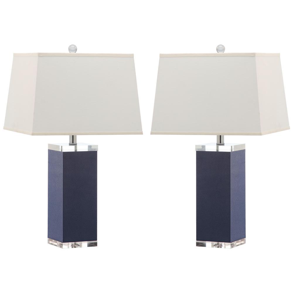 Safavieh Deco 27 in. Navy Faux Leather Table Lamp-LIT4143A-SET2 ...