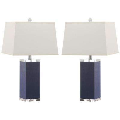 Deco Leather 27 in. Navy Table Lamp with White Shade (Set of 2)