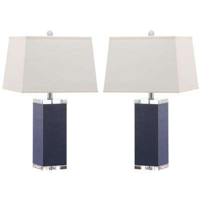 Lovely Navy Faux Leather Table Lamp