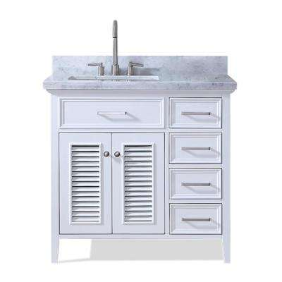 Kensington 37 in. Bath Vanity in White with Marble Vanity Top in Carrara White with White Basin