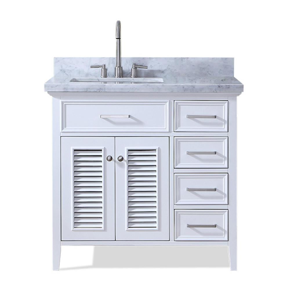 Ariel Kensington 37 in. Bath Vanity in White with Marble Vanity Top ...