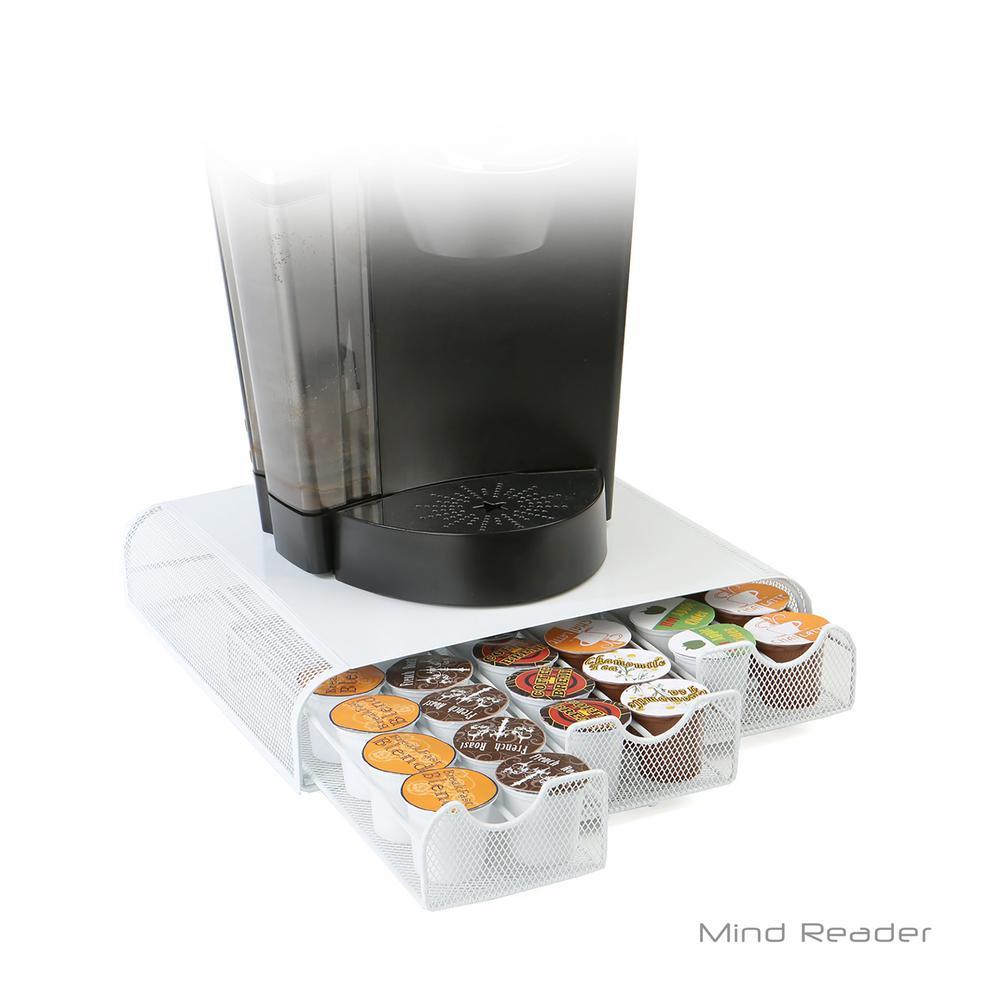 Triple Drawer Mesh K-Cup Single Serve Coffee Pod Drawer, White