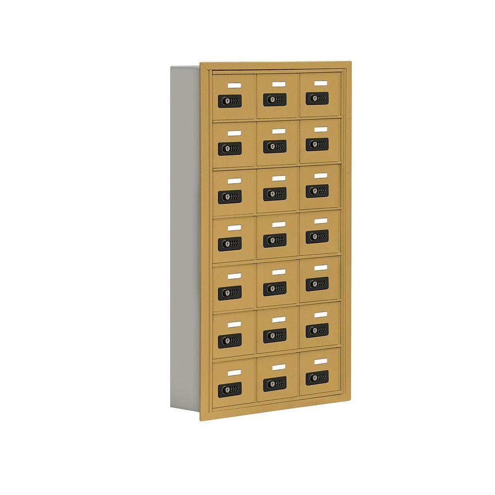 Salsbury Industries 19000 Series 24 in. W x 42 in. H x5.75 in. D 21 A Doors R-Mount Resettable Locks Cell Phone Locker in Gold