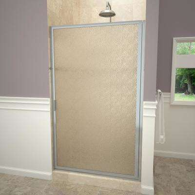 1100 Series 28-3/8 in. W x 63-1/2 in. H Framed Pivot Shower Door in Brushed Nickel with Pull Handle and Obscure Glass