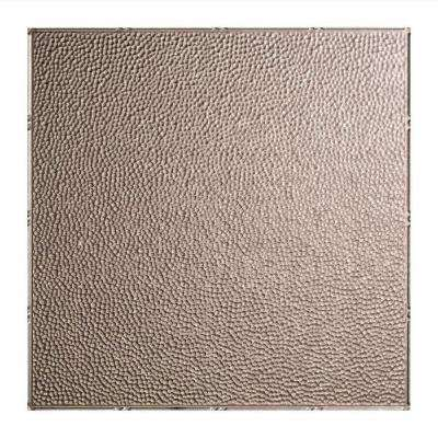 Hammered 2 ft. x 2 ft. Vinyl Lay-In Ceiling Tile in Galvanized Steel