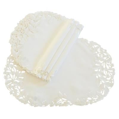 Victorian Lace 16 in. Ivory Embroidered Cutwork Round Doily (Set of 4)