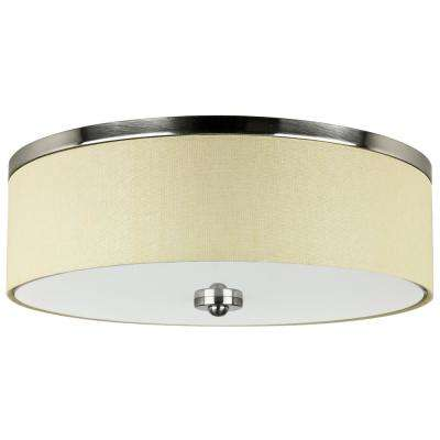 Drum 150-Watt Brushed Nickel & Fabric Integrated LED Ceiling Flush Mount