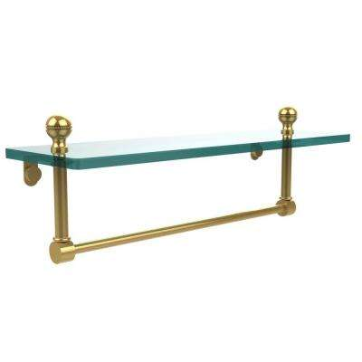 Mambo 16 in. L  x 5 in. H  x 5 in. W Clear Glass Vanity Bathroom Shelf with Towel Bar in Polished Brass