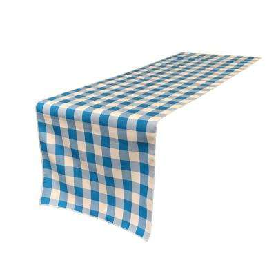 14 in. x 108 in. White and Turquoise Polyester Gingham Checkered Table Runner