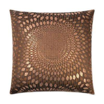 Whirl Copper Feather Down 24 in. x 24 in. Standard Decorative Throw Pillow