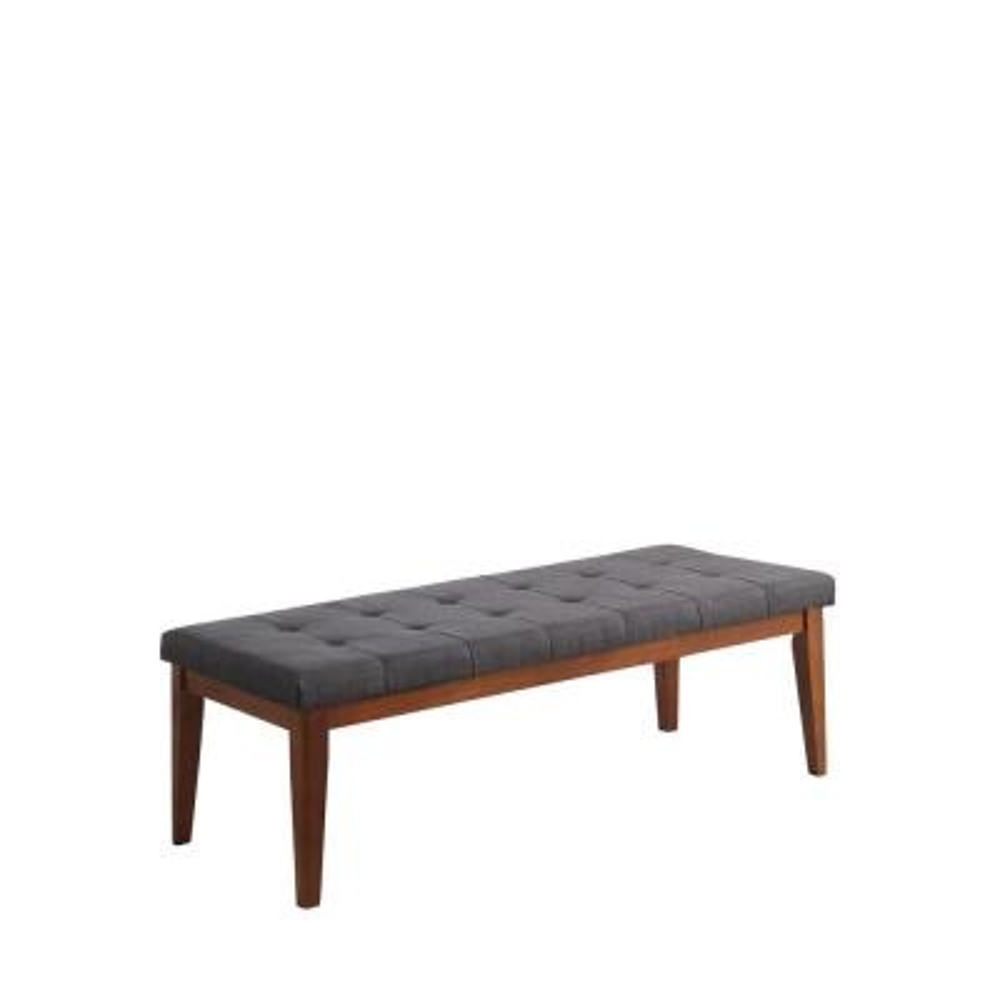 Gray Tufted Mid-Century Bench