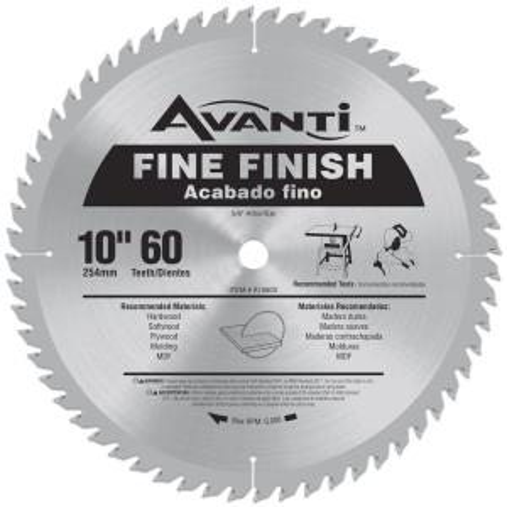 Click here to buy Avanti 10 inch x 60-Teeth Fine Finish Saw Blade by Avanti.