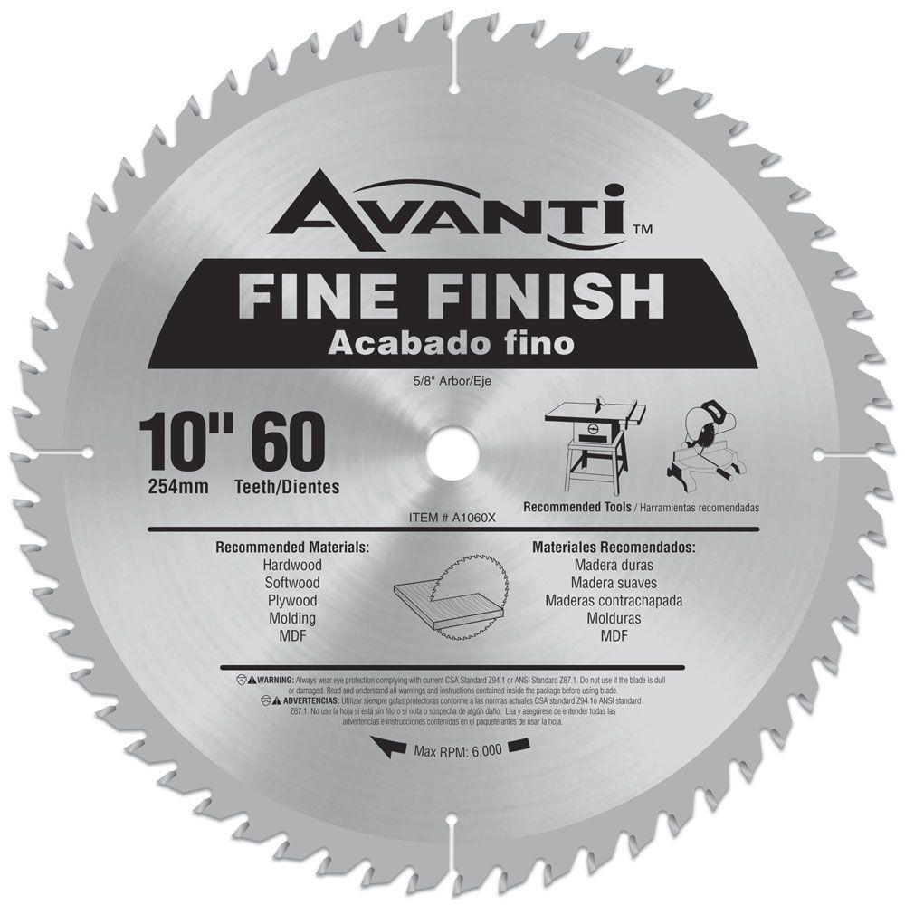 Avanti 10 In X 60 Teeth Fine Finish Saw Blade A1060x