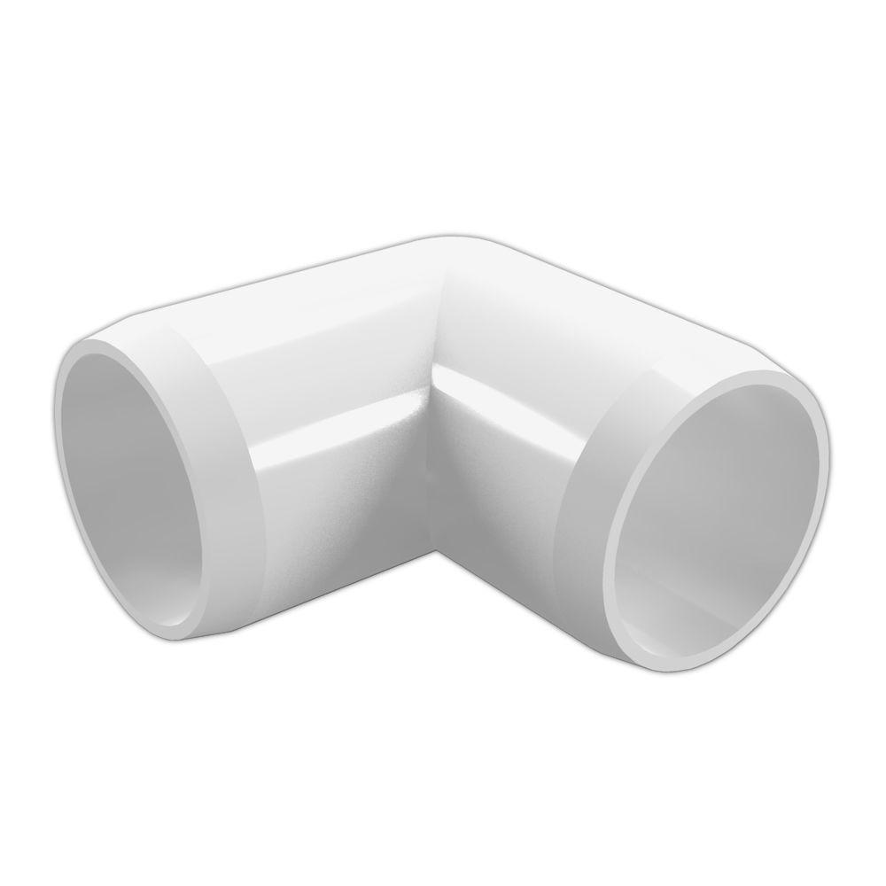 2 in. Furniture Grade PVC 90-Degree Elbow in White (4-Pack)