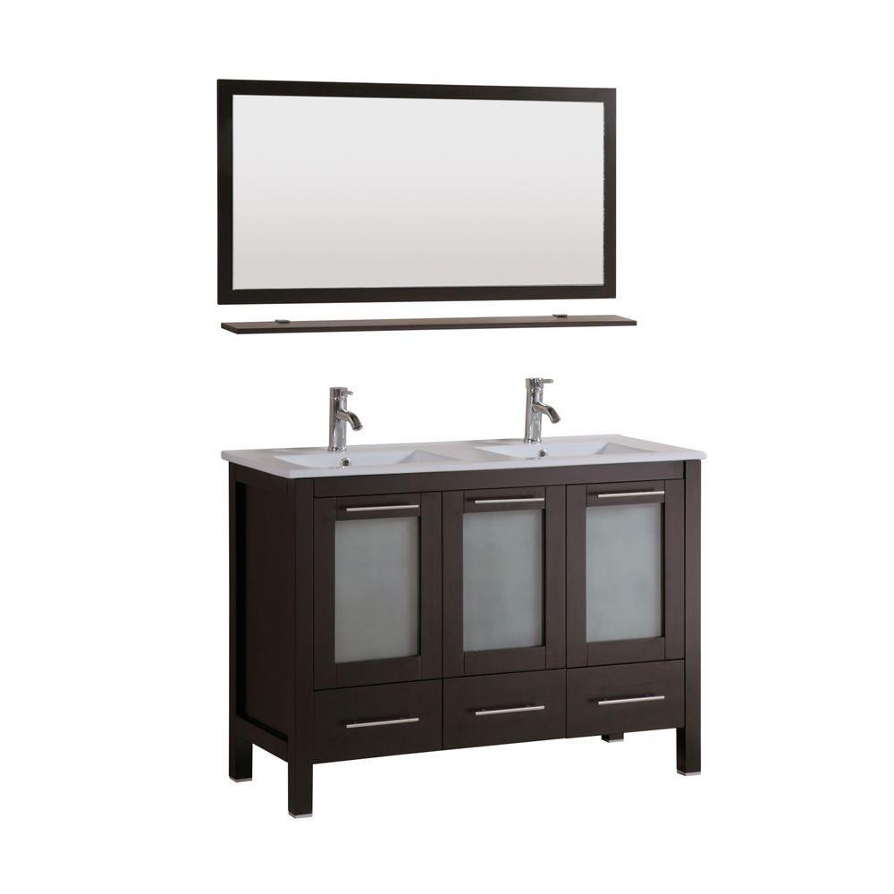Kokols sabrael 48 in double vanity in espresso with for 48 inch mirrored bathroom vanity