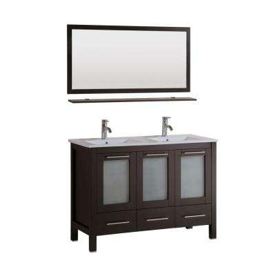 Sabrael 48 in. Double Vanity in Espresso with Porcelain Vanity Top in White and Mirror