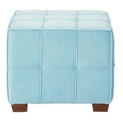 Sheldon Ocean Fabric with Coffee Wooden Legs Tufted Ottoman