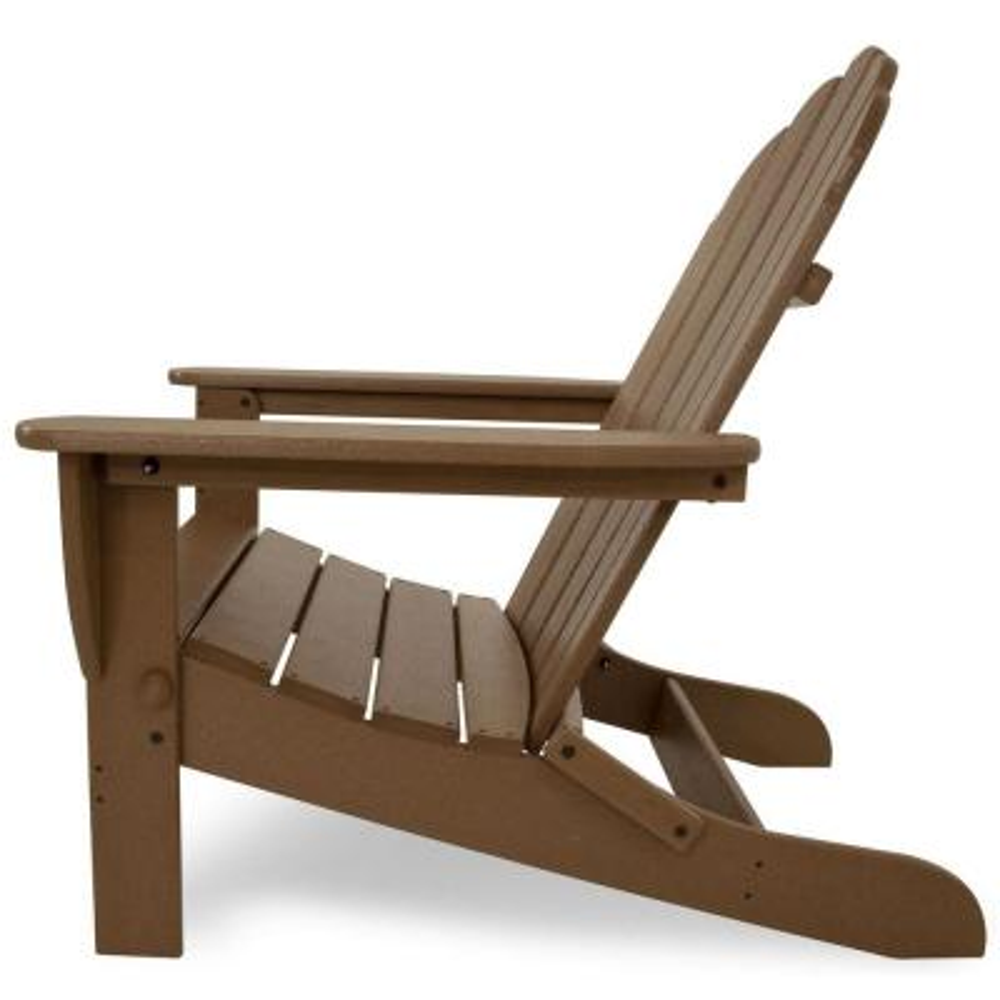 Classic Teak Oversized Curveback Plastic Patio Adirondack Chair