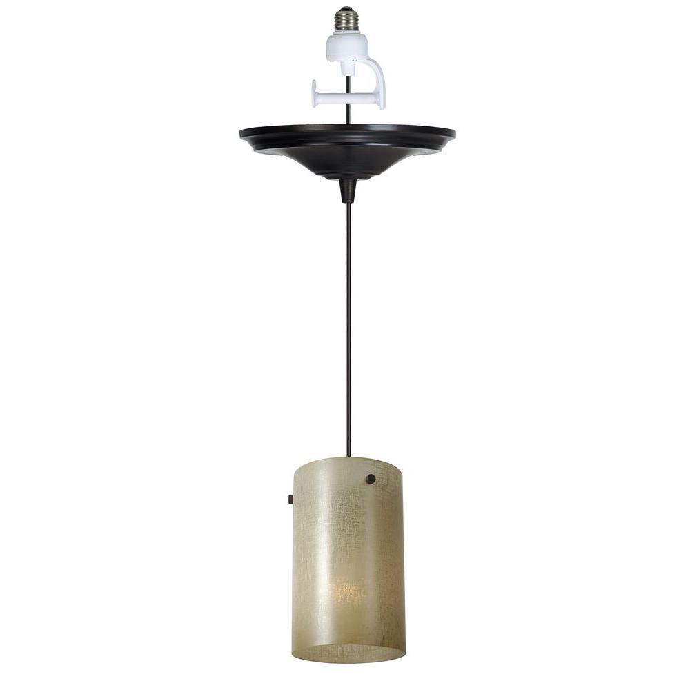 Worth Home Products 1-Light Antique Bronze Instant Pendant Conversion Kit with Linen Glass Shade