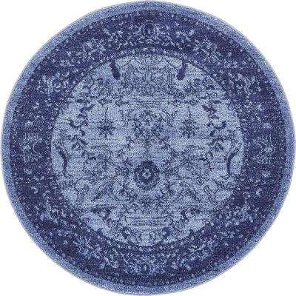 La Jolla Floral Blue 3' 3 x 3' 3 Round Rug