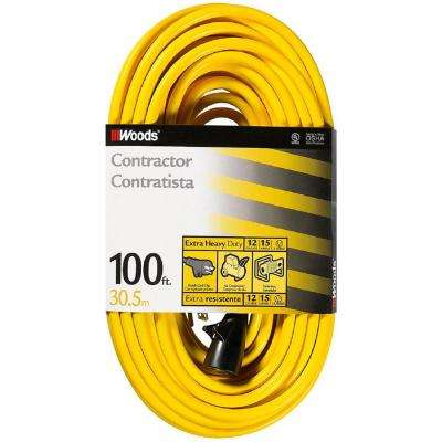 100 ft. 12/3 SJTW Hi-Visibility Outdoor Extra Heavy-Duty Extension Cord with Cord Clip, Yellow