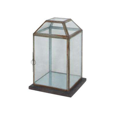 Display Lantern with Wood Base