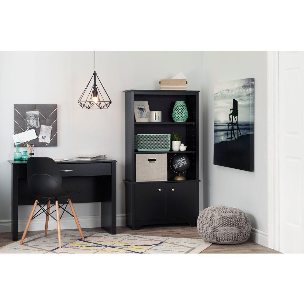 South Shore Vito Pure Black Storage Open Bookcase 10331