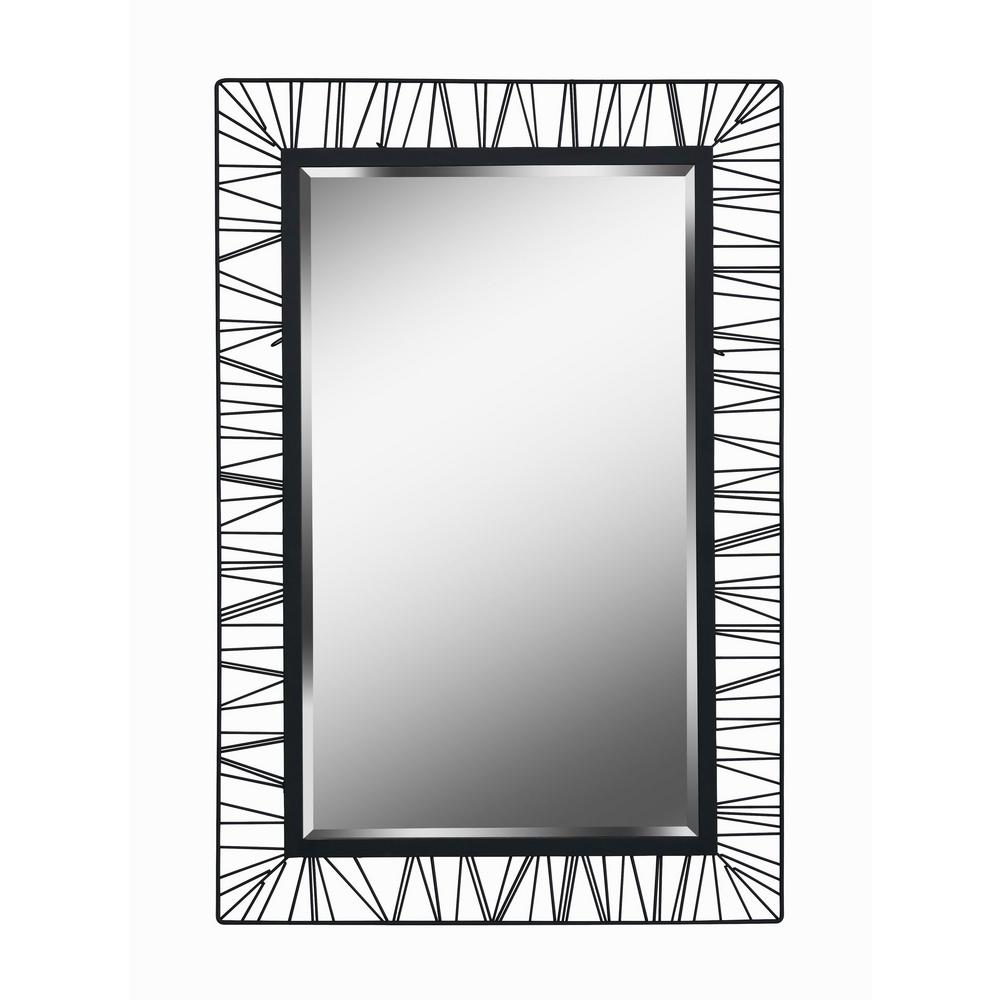 Wireframe Rectangular Black Vanity Wall Mirror