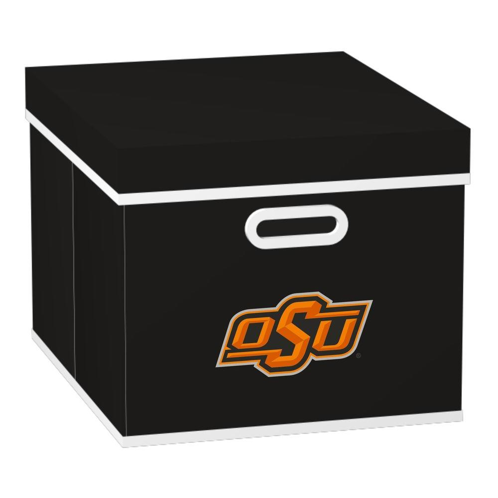 MyOwnersBox College STACKITS Oklahoma State University 12 in. x 10 in. x 15 in. Stackable Black Fabric Storage Cube