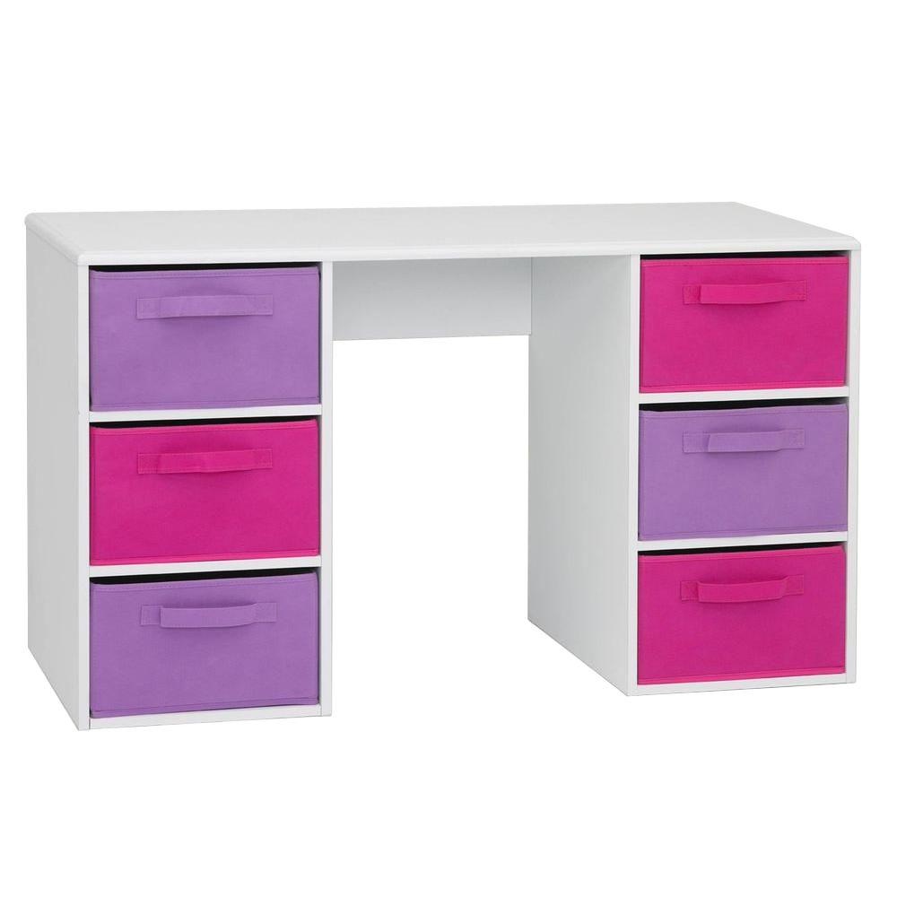 4d Concepts Student Desk White Pvc Laminate Girls