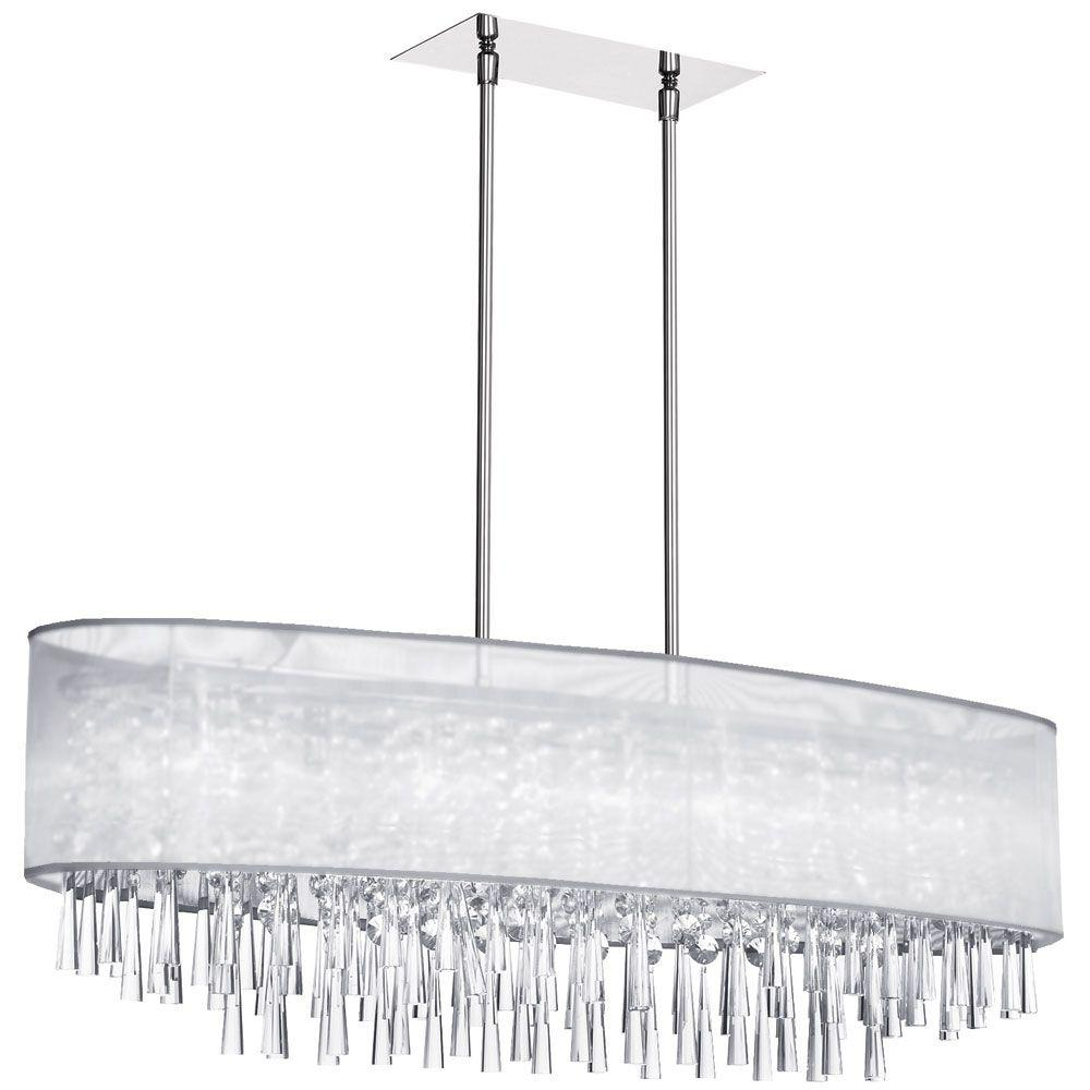 Catherine 8 Light Halogen Polished Chrome Chandelier with White Organza Shades