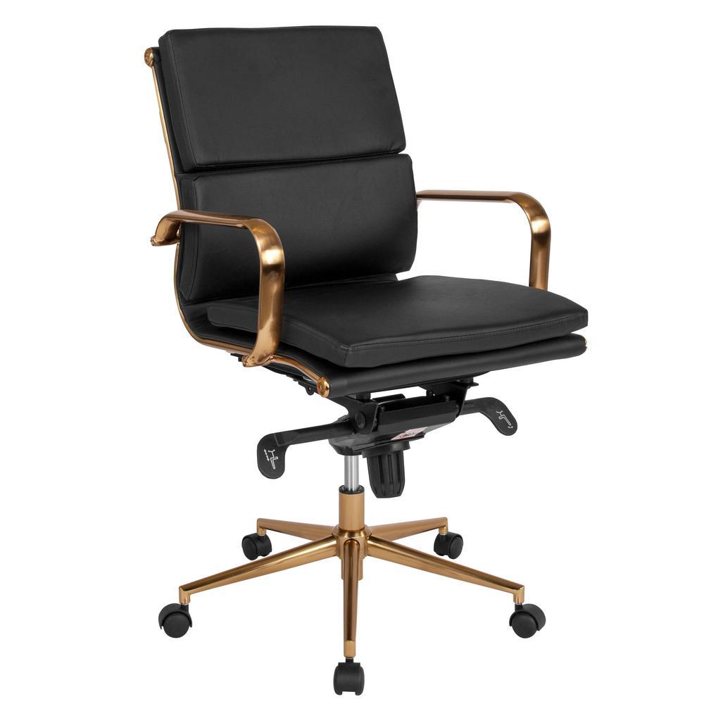 Flash Furniture Black Leather/Gold Frame Office/Desk Chair CGA-BT-239688-BL-HD