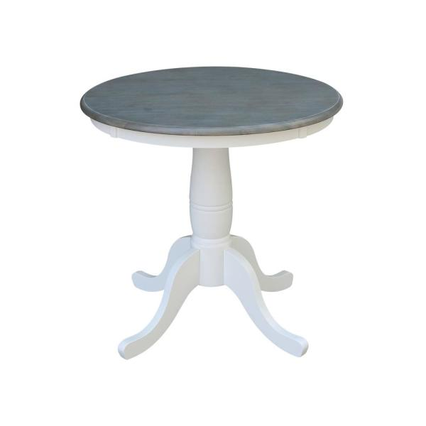 30 in. Round White/Heather Gray Solid Wood Dining Table