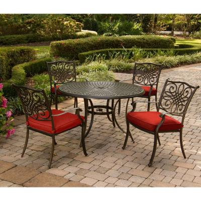 Traditions 5-Piece Round Outdoor Dining Set with Red Cushions