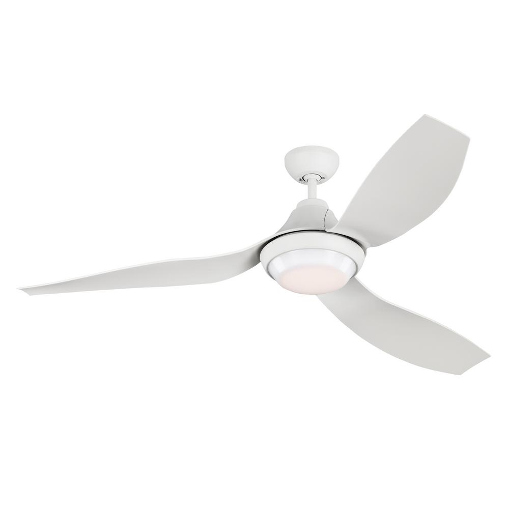 Monte Carlo Avvo 56 in. LED Indoor/Outdoor Matte White Ceiling Fan with Light Kit and Remote Control was $577.0 now $359.97 (38.0% off)