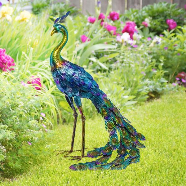Alpine Corporation 28 In Tall Outdoor Metallic Peacock Standing Yard Statue Decoration Multicolor Jum208 The Home Depot