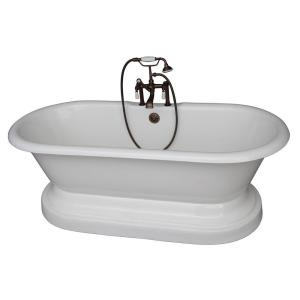 Barclay Products 5.6 ft. Cast Iron Double Roll Top Tub in White with Oil Rubbed Bronze Accessories by Barclay Products